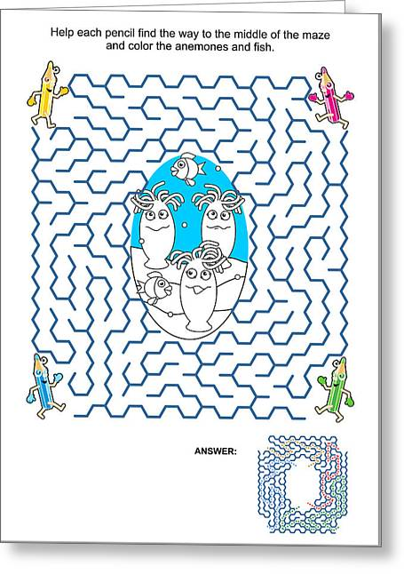 Fish Digital Greeting Cards - Maze game and coloring page - anemones and fish Greeting Card by Natalia Ratselmeister