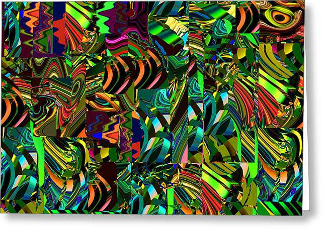 Abstract Movement Greeting Cards - Maze Green Greeting Card by Phillip Mossbarger