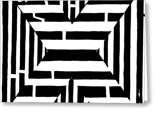 Yonatan Frimer Greeting Cards - Maze of the letter X Greeting Card by Yonatan Frimer Maze Artist