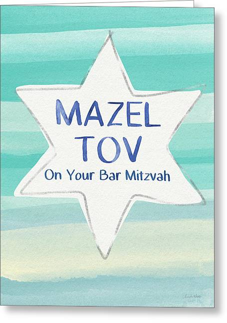 Mazel Tov On Your Bar Mitzvah-  Art By Linda Woods Greeting Card by Linda Woods