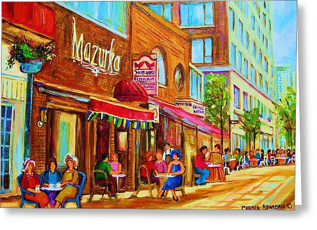 Out-of-date Greeting Cards - Mazurka Cafe Greeting Card by Carole Spandau