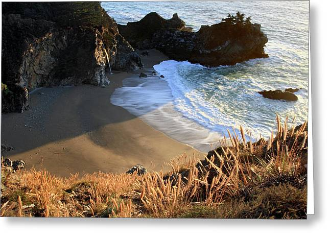 Big Sur California Greeting Cards - Mc Way falls sunlight Greeting Card by Pierre Leclerc Photography