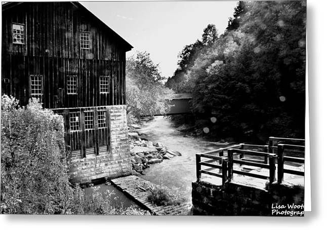 White Greeting Cards - McConnells Mill Black and White Greeting Card by Lisa Wooten