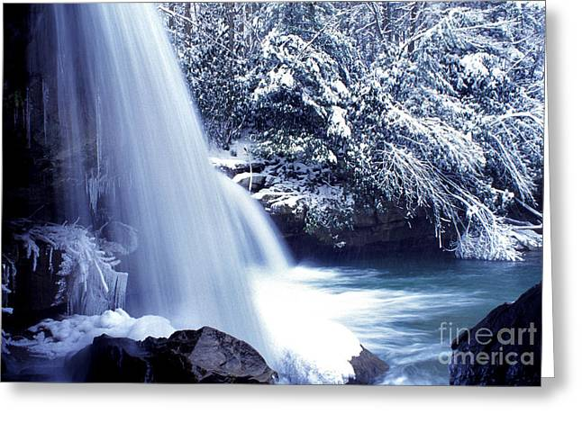 Mccoy Greeting Cards - McCoy Falls in January Greeting Card by Thomas R Fletcher
