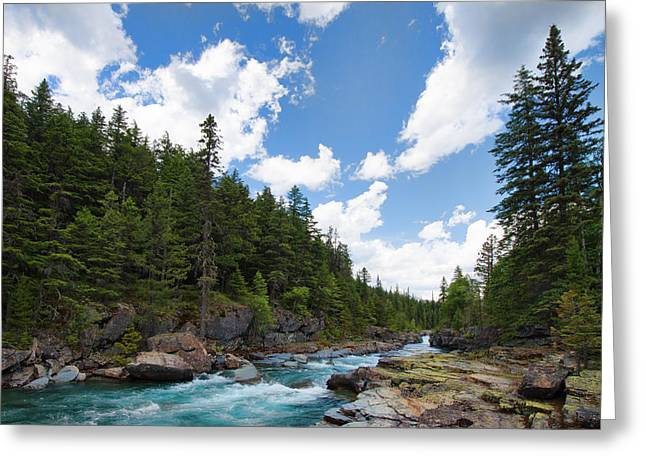 Mountain Road Greeting Cards - McDonald Creek Greeting Card by Allan Van Gasbeck