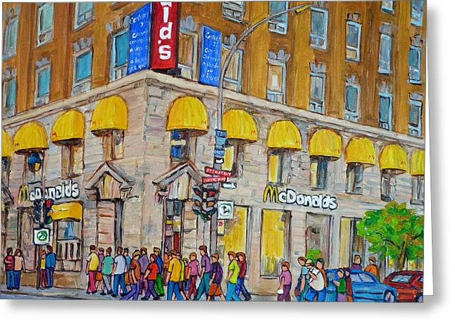 Take-out Greeting Cards - Mcdonald Restaurant Old Montreal Greeting Card by Carole Spandau