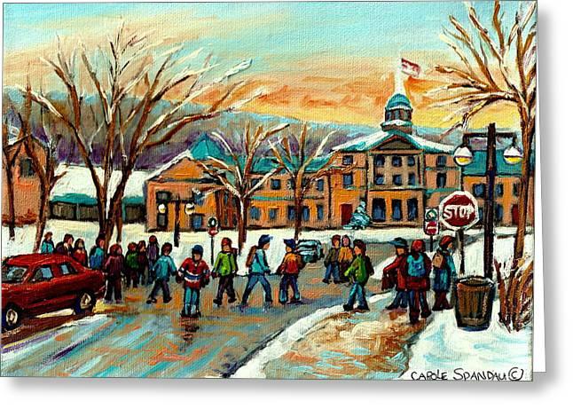 Mcgill Gates Sherbrooke Street Montreal Greeting Card by Carole Spandau