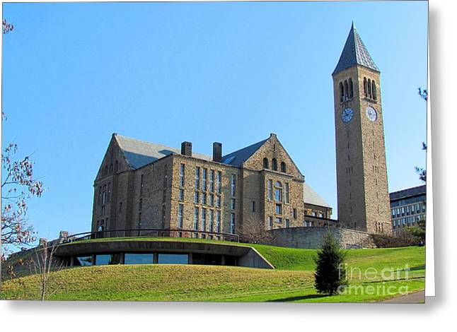 Ithaca Greeting Cards - McGraw Tower and Uris Library Greeting Card by Elizabeth Dow