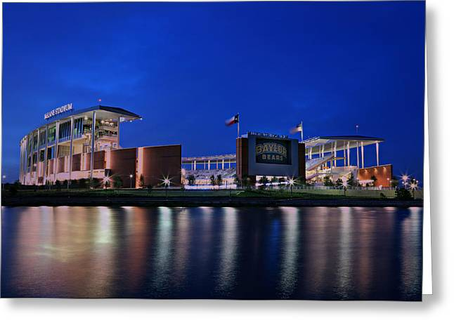 Sidelines Greeting Cards - McLane Stadium Evening Greeting Card by Stephen Stookey