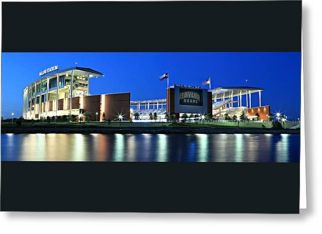 Sidelines Greeting Cards - McLane Stadium Panoramic Greeting Card by Stephen Stookey