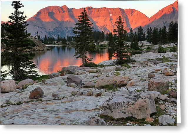 Mcpheters Lake Sunset And Ostler Peak Greeting Card by Brett Pelletier