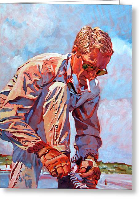 Auto-portrait Greeting Cards - McQueen Cool - Steve McQueen Greeting Card by David Lloyd Glover