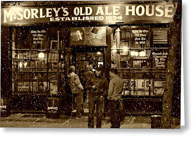 Sepia Greeting Cards - McSorleys Old Ale House Greeting Card by Randy Aveille