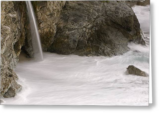 Big Sur California Greeting Cards - Mcway Cove Waterfall With Rocks Greeting Card by Rich Reid