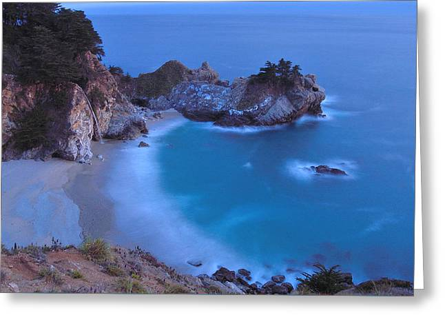 California Sea Lions Greeting Cards - McWay Falls at Dusk Greeting Card by Rachel Cash