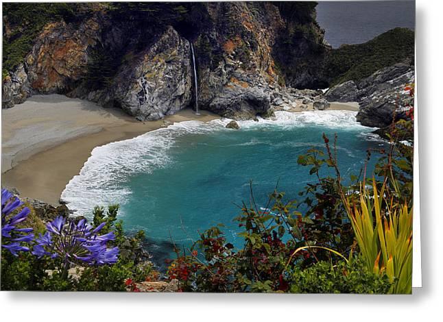Big Sur Greeting Cards - McWay Falls Big Sur California Greeting Card by Dan Peak