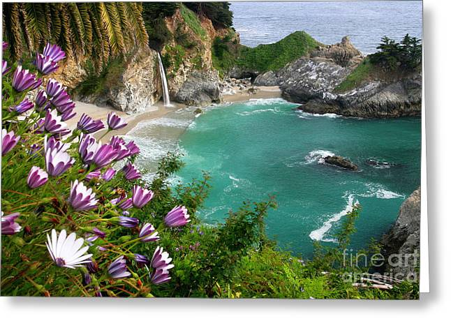 Tropical Oceans Greeting Cards - McWay Falls Greeting Card by Brian Ernst