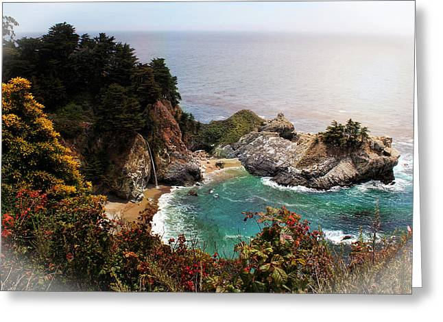 Big Sur Beach Greeting Cards - McWay Falls Enhanced Greeting Card by Judy Vincent