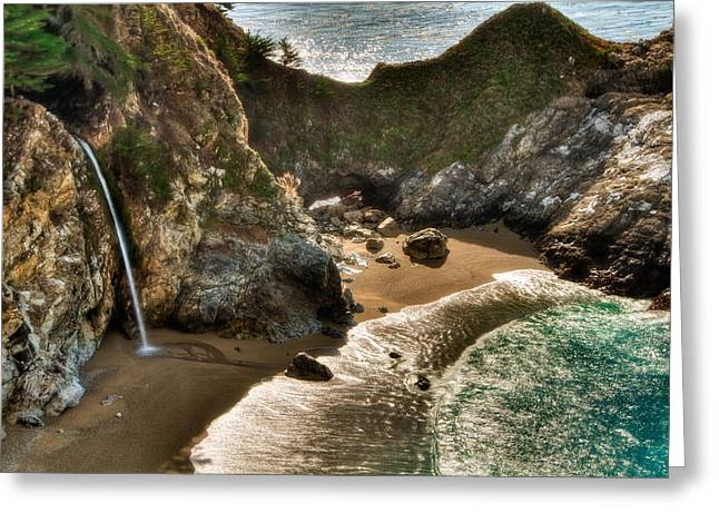 Recently Sold -  - Pfeiffer Beach Greeting Cards - McWay Falls Hwy 1 California Greeting Card by Connie Cooper-Edwards
