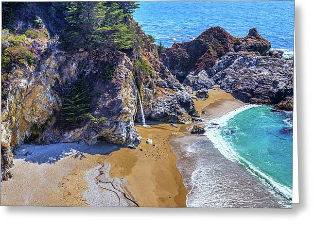 Big Sur California Greeting Cards - McWay Falls Greeting Card by Joseph S Giacalone