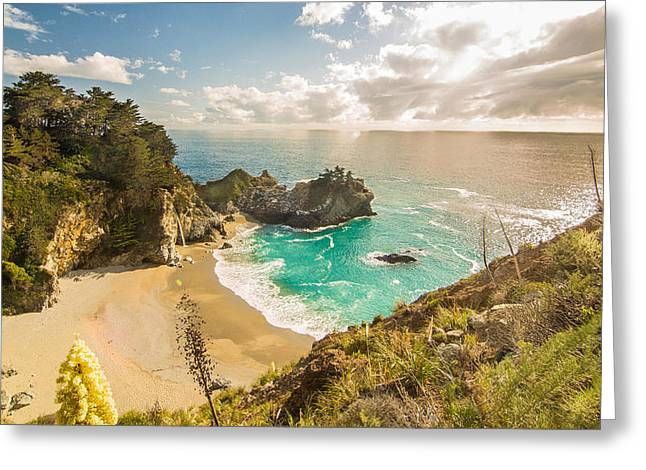 Ocean Photography Greeting Cards - McWay Falls Greeting Card by Ken Kobe
