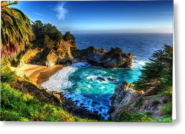 Pfeiffer Beach Greeting Cards - McWay Falls Greeting Card by Mark Ruanto