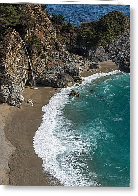 Big Sur Greeting Cards - McWay Falls On The Pacific Coast Highway  Greeting Card by Willie Harper