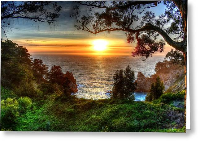 Big Sur Beach Greeting Cards - McWay Falls Sunset Greeting Card by Mark Ruanto