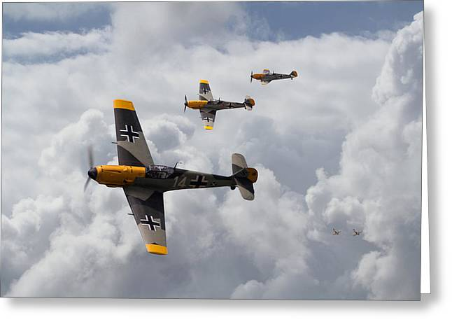 Clouds Scape Greeting Cards - Me 109 - Out of the Sun Greeting Card by Pat Speirs