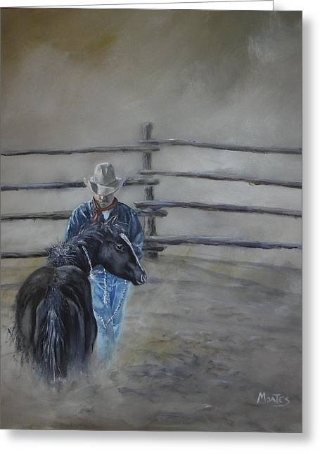 Quarter Horses Greeting Cards - Me and Jigs Greeting Card by Dwayne Moates