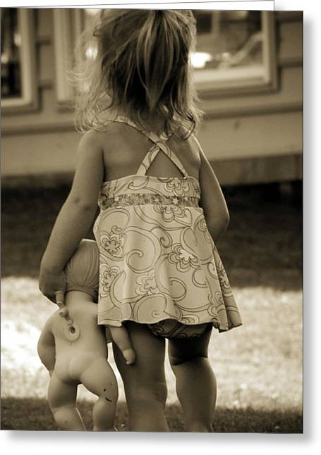 Toddler Girl Greeting Cards - Me And My Baby Greeting Card by Trish Tritz