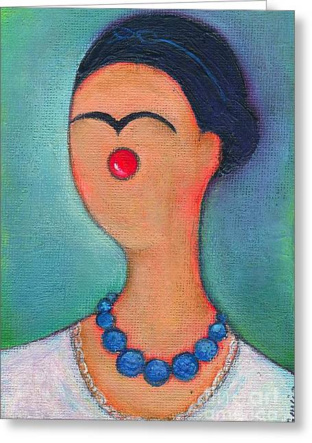 Me And My Blue Pearl Necklace Greeting Card by Ricky Sencion