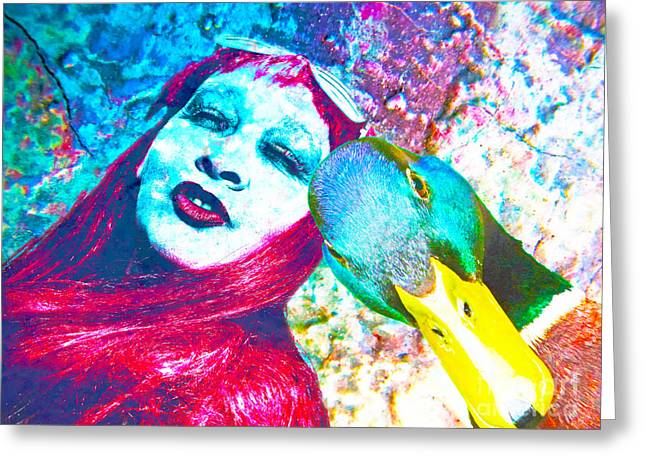 Colorfull Hair Greeting Cards - Me And My Friend Lucky Duck Greeting Card by Die Farbenfluesterin