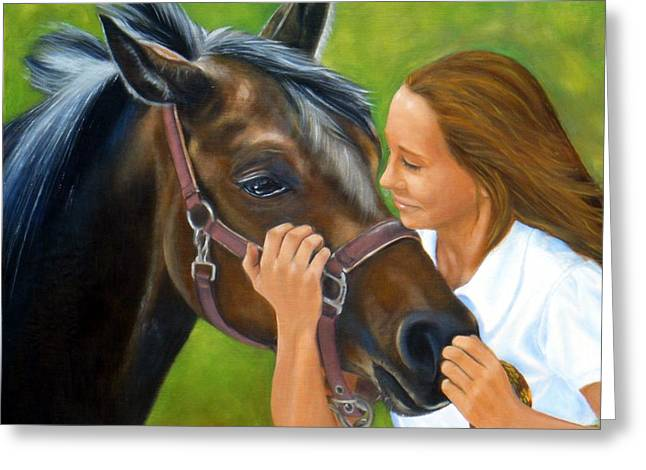 Daughter Gift Paintings Greeting Cards - Me and my horse Greeting Card by Sun Sohovich