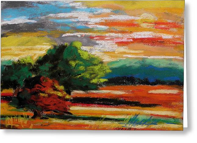 Fall Grass Pastels Greeting Cards - Meadow at Sunset Greeting Card by John  Williams