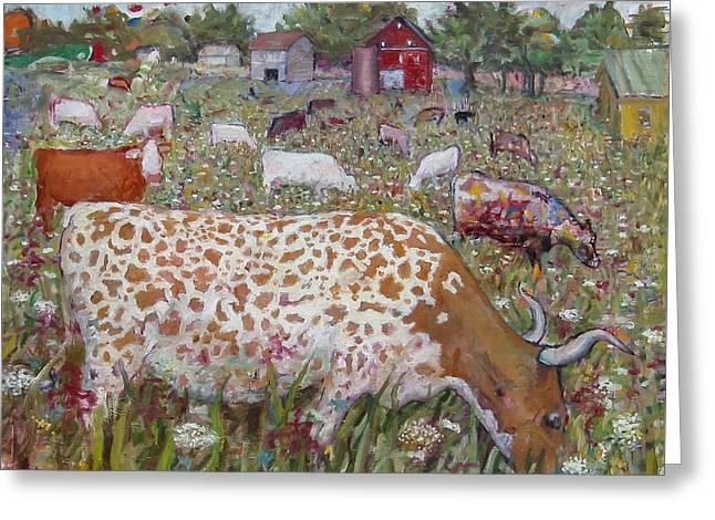 Meadow Farm Cows Greeting Card by Paul Emory