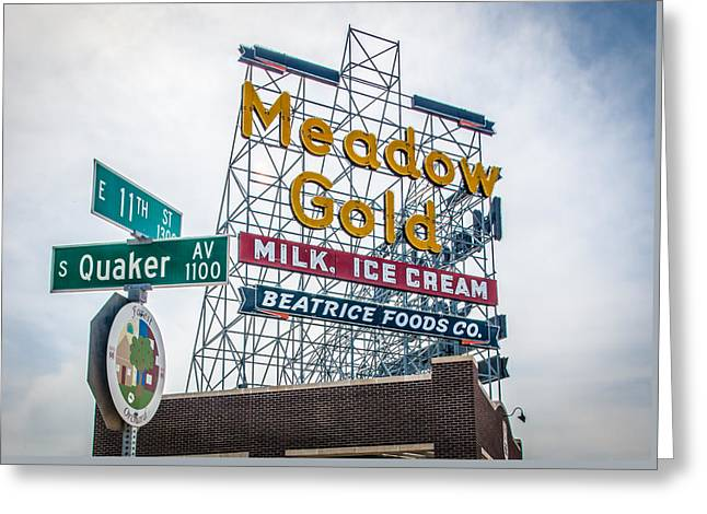 Quaker Greeting Cards - Meadow Gold Sign 11th and Quaker Greeting Card by Roberta Peake