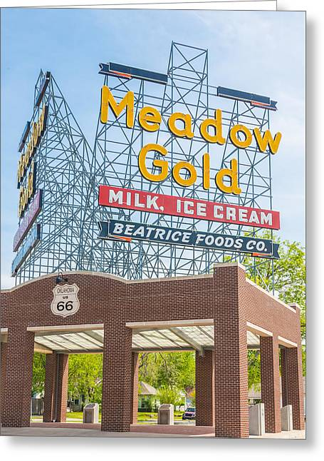 Quaker Greeting Cards - Meadow Gold Sign Route 66 Greeting Card by Roberta Peake