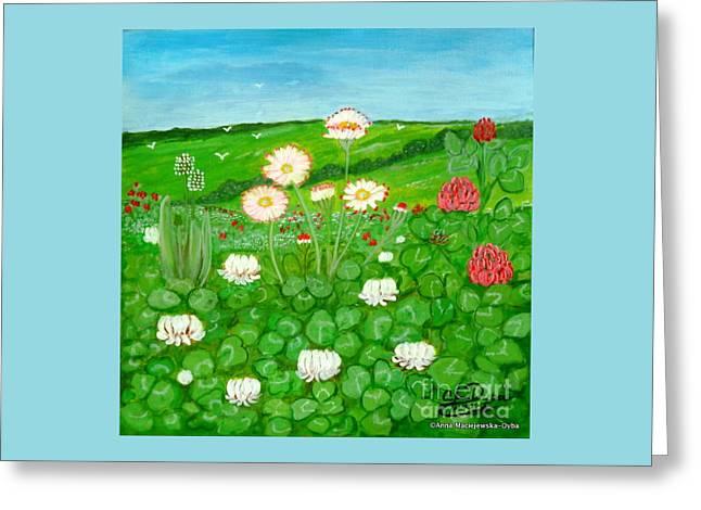 Meadow In Bloom Greeting Card by Anna Folkartanna Maciejewska-Dyba