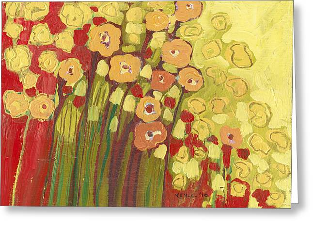 Flowers Paintings Greeting Cards - Meadow in Bloom Greeting Card by Jennifer Lommers