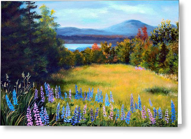 Mountains And Lake Greeting Cards - Meadow Lupine II Greeting Card by Laura Tasheiko