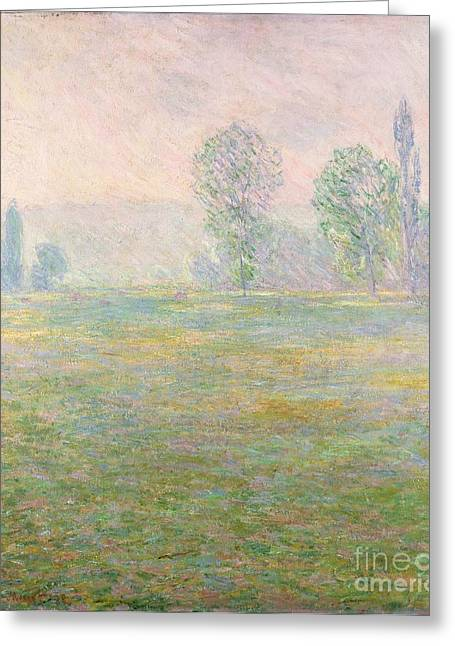 Farm Fields Paintings Greeting Cards - Meadows in Giverny Greeting Card by Claude Monet