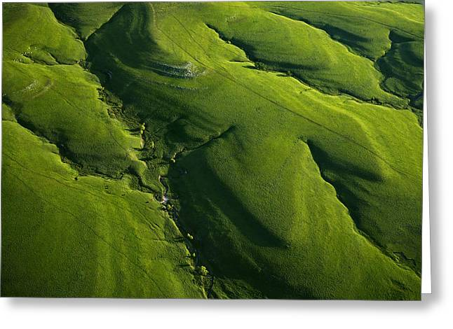 Tallgrass Prairie National Preserve Greeting Cards - Meandering Valleys Of Texaco Hill Greeting Card by Jim Richardson