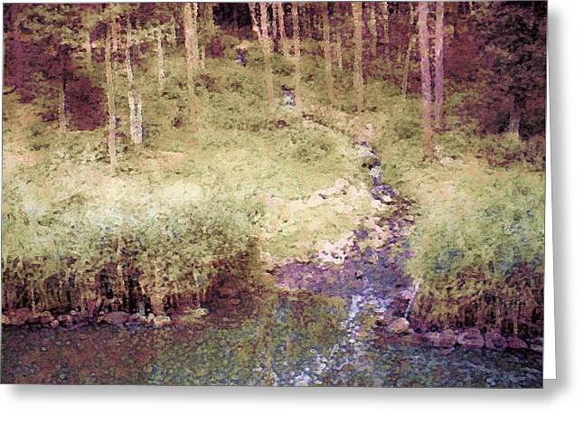 Stream Digital Greeting Cards - Meandering Woodland Stream Greeting Card by Susan Maxwell Schmidt