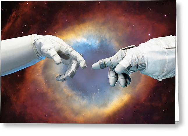 Nasa Mixed Media Greeting Cards - Meanwhile, In Space Greeting Card by Photodream Art