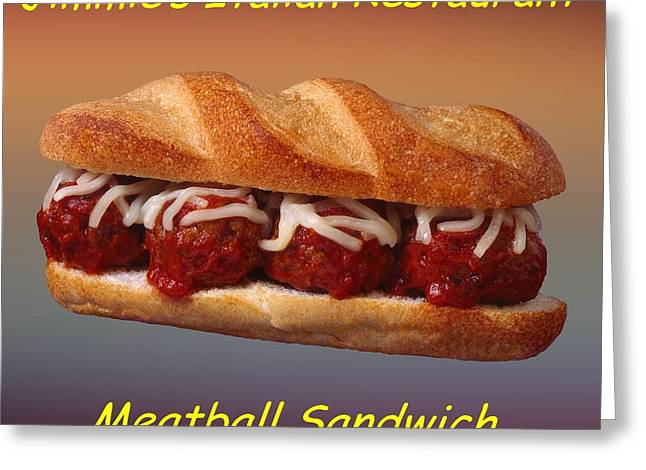 Deli Greeting Cards - Meatball Sandwich Customized  Greeting Card by Movie Poster Prints