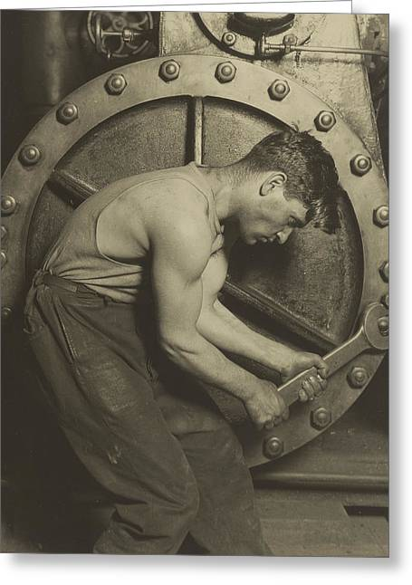 Manual Greeting Cards - Mechanic and Steam Pump Greeting Card by Lewis Wickes Hine