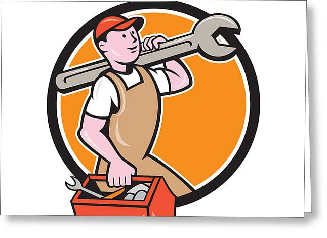 Overalls Digital Greeting Cards - Mechanic Carrying Spanner Toolbox Circle Cartoon Greeting Card by Aloysius Patrimonio