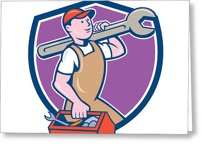Overalls Digital Greeting Cards - Mechanic Carrying Spanner Toolbox Crest Cartoon Greeting Card by Aloysius Patrimonio