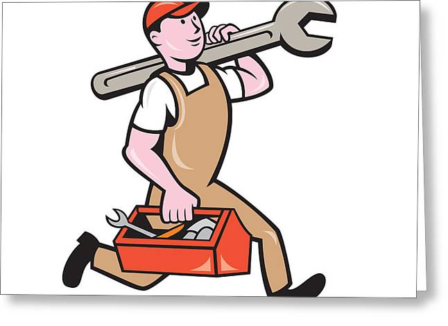 Overalls Digital Greeting Cards - Mechanic Carrying Spanner Toolbox Running Isolated Greeting Card by Aloysius Patrimonio